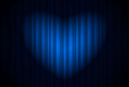 Stage with blue curtain and spotlight great, heart-shaped. Illustration of the designer Stock Vector - 11386460