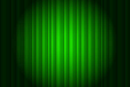 Curtain from the theater with a green spotlight. Illustration of the designer Stock Vector - 11386452