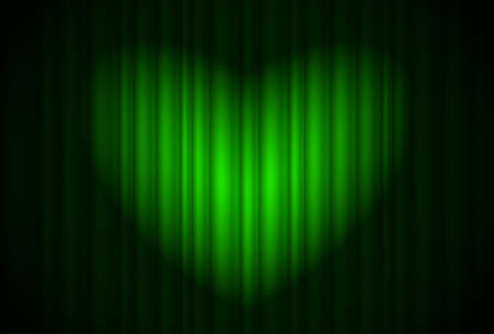 Stage with green curtain and spotlight great, heart-shaped. Illustration of the designer  Vector
