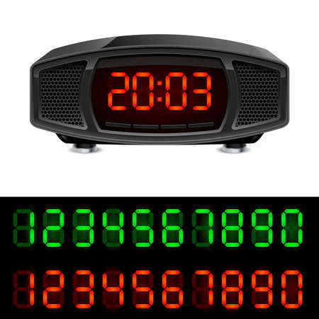 digital Numbers: Radio alarm clock. Illustration isolated on white background.