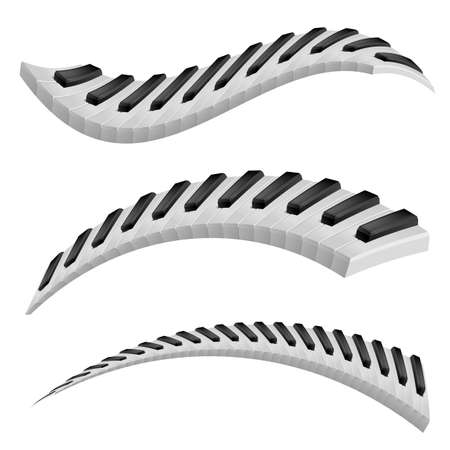 revolving: Illustration of wavy piano keys on white background.
