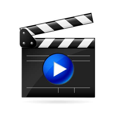 videofilm: Open Movie clapboard auf wei�em Hintergrund. Illustration auf wei�em Hintergrund