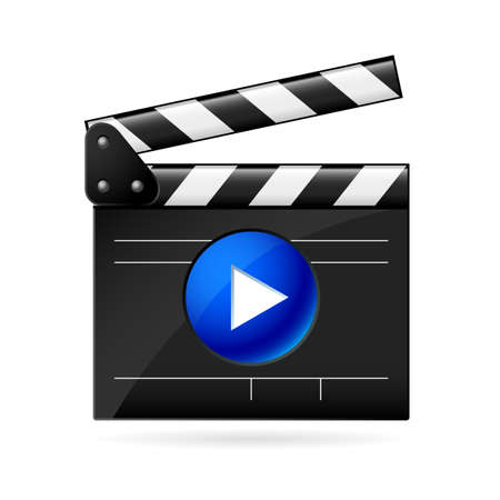 video camera: Open movie clapboard on white background. Illustration on white background Illustration