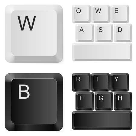 Touches de l'ordinateur blanc et noir. Illustration sur fond blanc Vecteurs