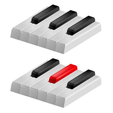 Close up illustration of black and white piano keys Vector