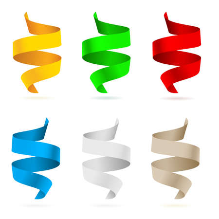 tape line: Beautiful colored ribbons.  Illustration on white background for design  Illustration