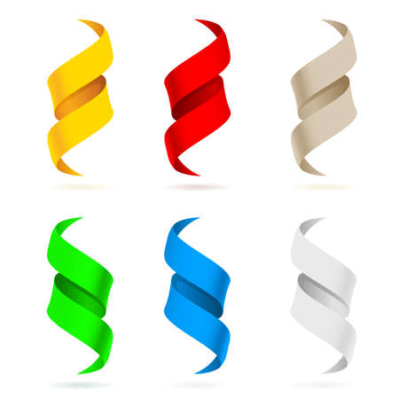 cordon: Many beautiful colored ribbons. Illustration on white background for design