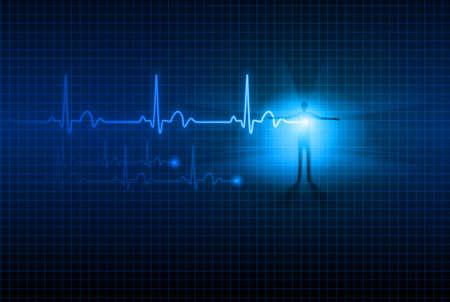 Zusammenfassung Medizinischer Hintergrund. EKG. Illustration für Design.