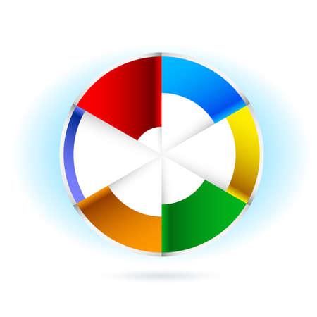 graficas de pastel: Resumen gráfico circular. Ilustración para el diseño sobre fondo blanco
