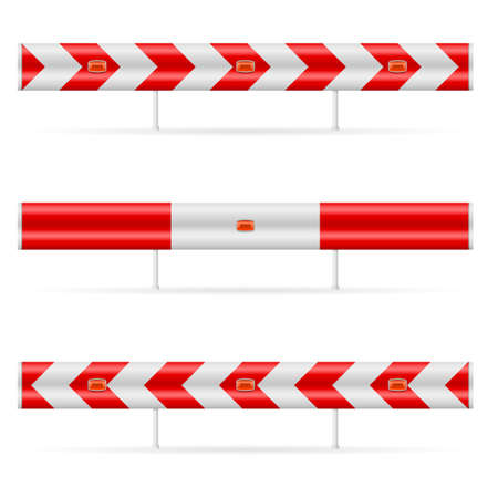 road closed: Construction barricade - road block. Illustration on white background