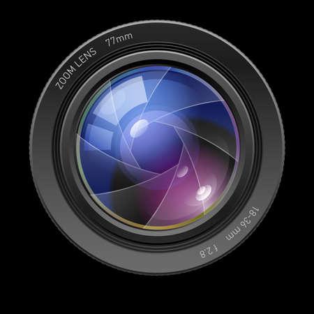 diaframma: Lente fotografica. Illustrazione a sfondo nero per la progettazione