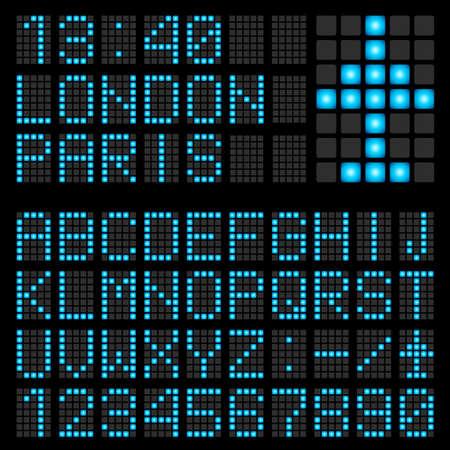Set mit blauen Buchstaben auf einem mechanischen Zeitplan. Illustration des Designers