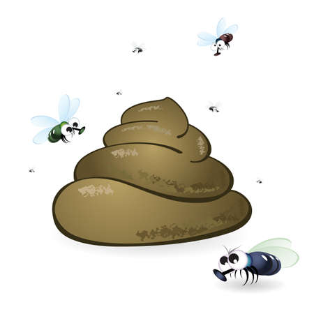 poo: Cartoon feces and flies. Illustration on white background