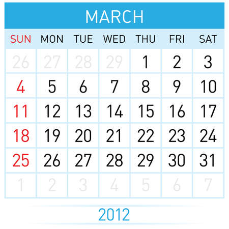 March calendar. Illustration on white background for design  Stock Vector - 11814085