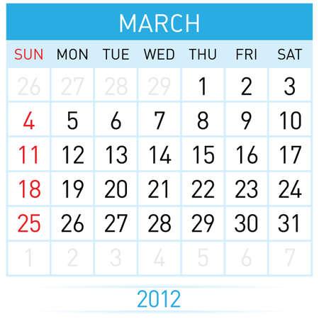 March calendar. Illustration on white background for design Stock Vector - 11814085