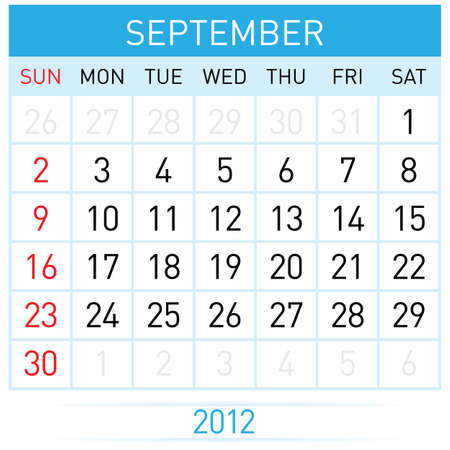 september calendar: September calendar. Illustration on white background for design