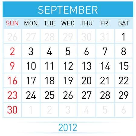 calendario septiembre: Septiembre del calendario. Ilustraci�n sobre fondo blanco para el dise�o