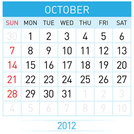 October Calendar. Illustration on white background for design  Vector