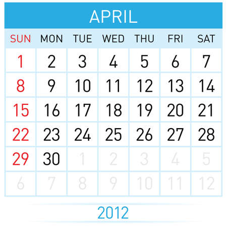 April Calendar. Illustration on white background for design Vector