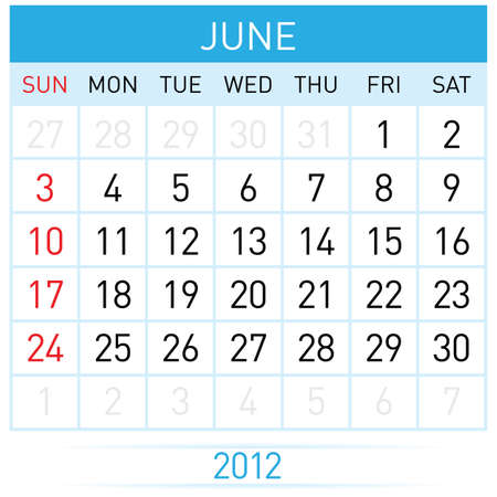 June Calendar. Illustration on white background for design Stock Vector - 11814084