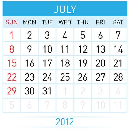 July Calendar. Illustration on white background for design Stock Vector - 11814081
