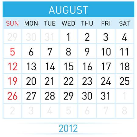 August Calendar. Illustration on white background for design Stock Vector - 11814088