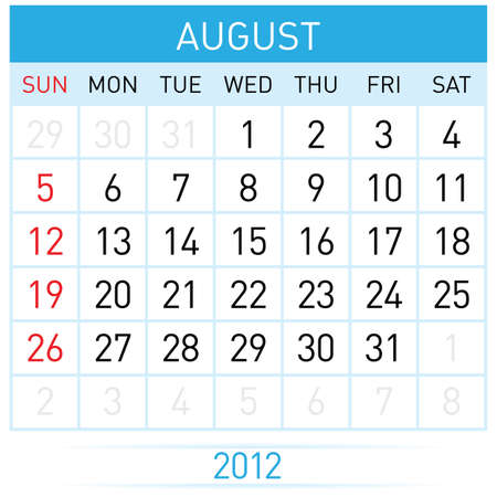 august calendar: Calendario de agosto. Ilustraci�n sobre fondo blanco para el dise�o