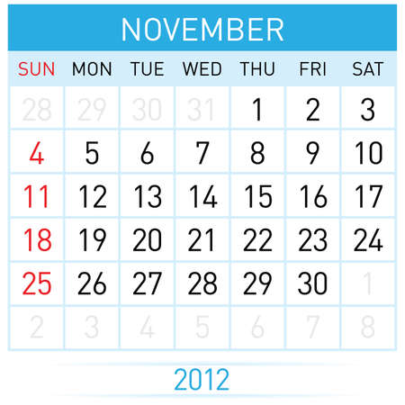november calendar: November Calendar. Illustration on white background for design