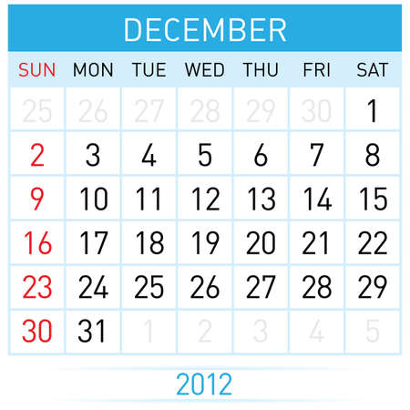 december calendar: Dicembre Calendario. Illustrazione su sfondo bianco per il design