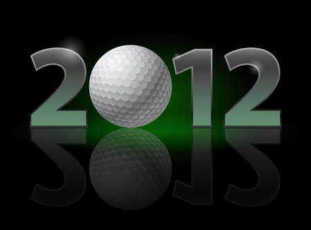 Twenty Twelve year. Golf Ball. Illustration on black background Vector