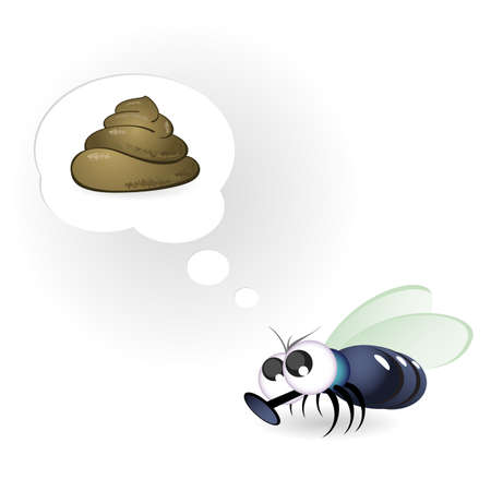 manure: Cartoon Funny Fly. Illustration on white background