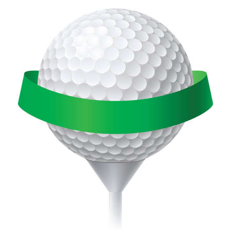 tees: Golf Ball with Green Ribbon. Illustration on white background for design
