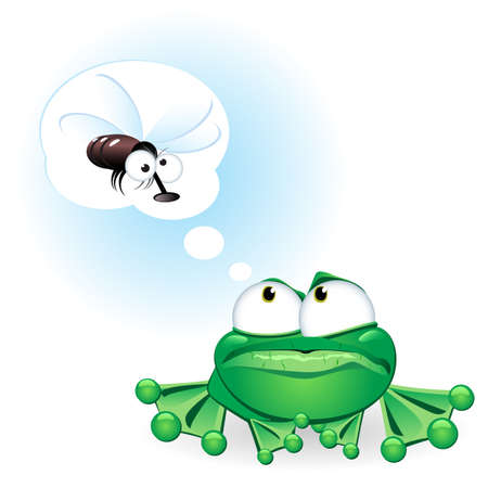 Frog dreaming about a fly. Illustration on white background Vector