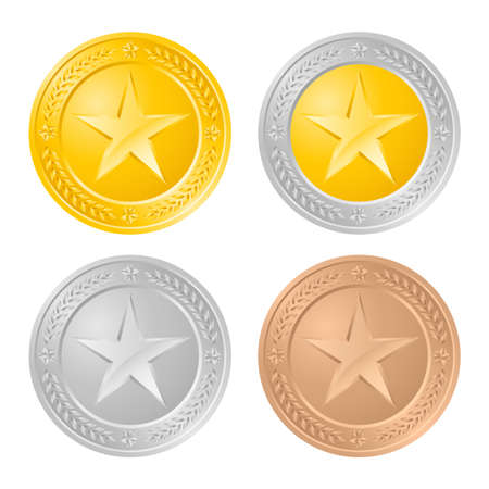 gold and silver coins: Four gold coins. Illustration of the designer on a white background Illustration