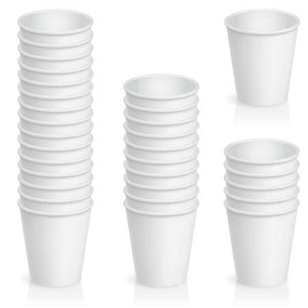 chicchi caff� su sfondo bianco: Set di bicchiere di carta vuoto. Illustrazione del progettista su uno sfondo bianco