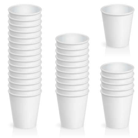 Set of empty paper cup. Illustration of the designer on a white background   Vector