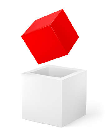 Red and white cube. Illustration of the designer on a white background Stock Vector - 11992640