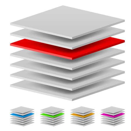 Capas múltiples. Ilustración del diseñador sobre un fondo blanco Ilustración de vector