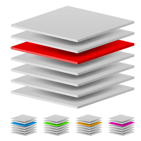 hierarchy: Multi layers. Illustration of the designer on a white background