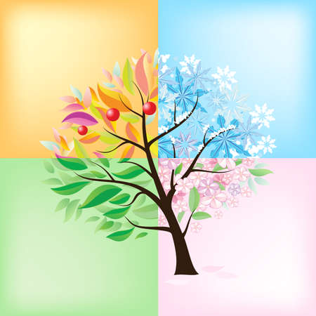 cuatro elementos: Four Seasons Árbol. Ilustración sobre fondo blanco Vectores