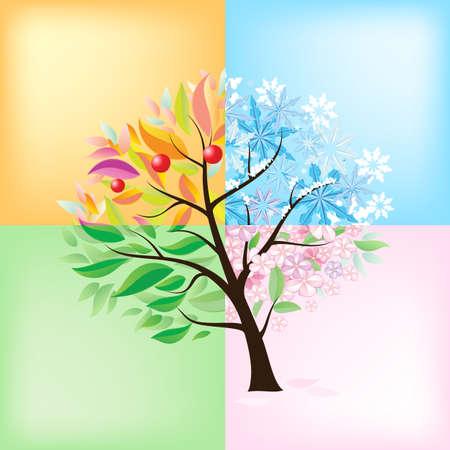 quatre saisons: Quatre Saisons Arbre. Illustration sur fond blanc
