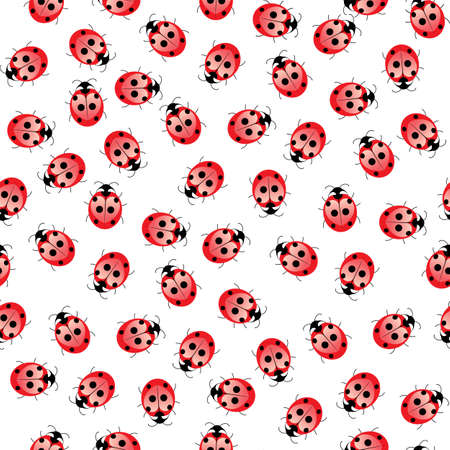 Seamless ladybug pattern. Illustration of a designer on a white background Vector