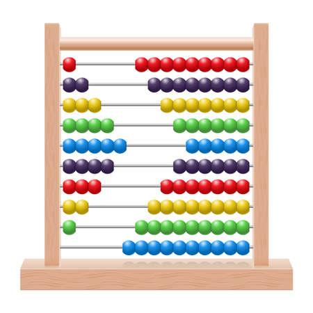 rekensommen: Illustratie van een telraam met regenboog gekleurde kralen