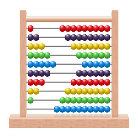 Illustration of an abacus with rainbow colored beads Vector