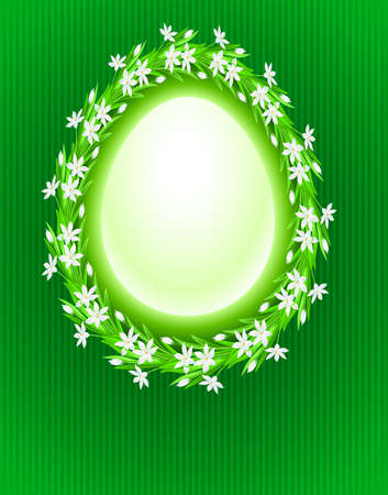 Spring egg composition. Illustration on green background for design  Vector
