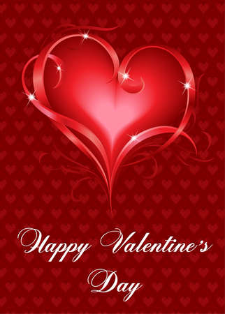 valentine passion: Greeting Card. Beautiful red heart on red background.