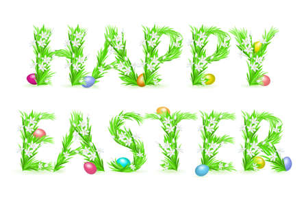 egg plant: Greeting Card. Happy Easter. Illustration on white background