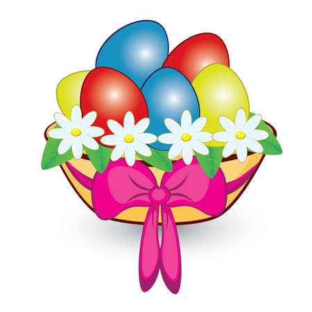 Basket with colorful Easter eggs. Illustration on white background  Vector