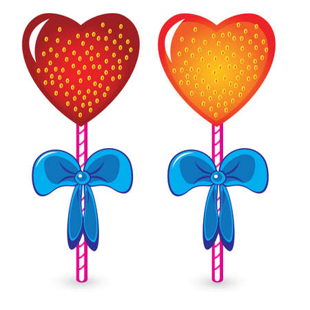 candy stick: Set of beautiful heart shaped candies. Illustration on white background