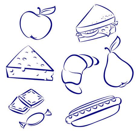orange juice glass: Impostare un pasto del mattino. Illustrazione su sfondo bianco per la progettazione